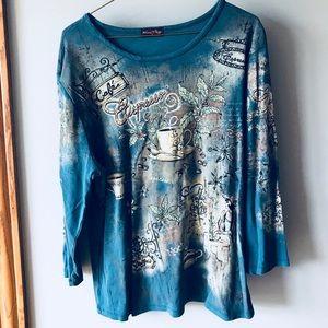 Flower Ring graphic quarter sleeve blouse